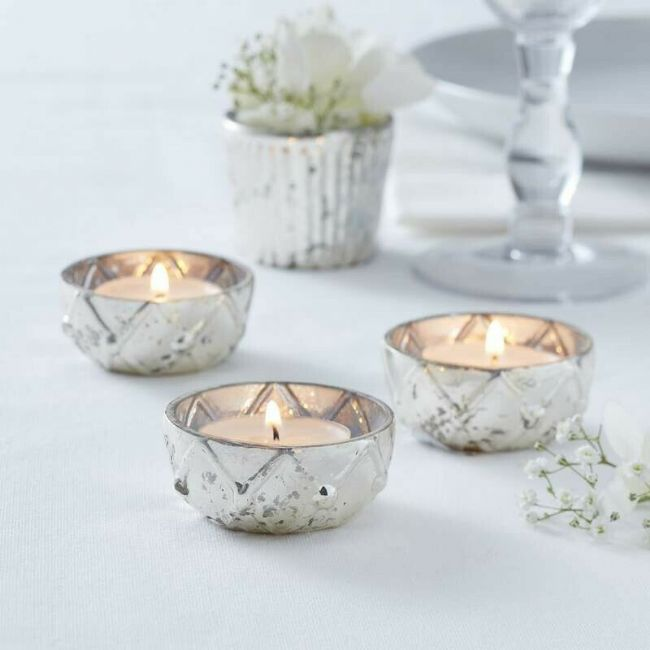 12 Silver Glass Tealight Holders